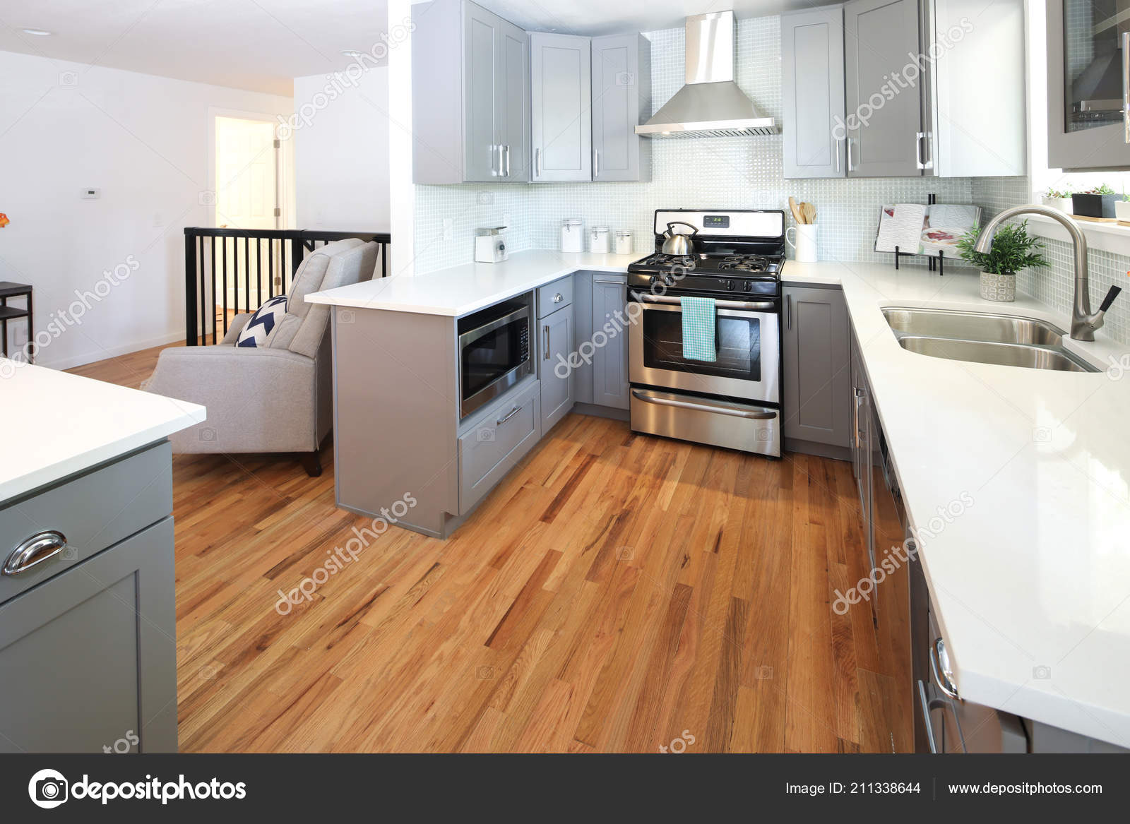 Stunning Kitchen Design Grey Cabinets White Countertops Stock Photo Image By C Alabn 211338644