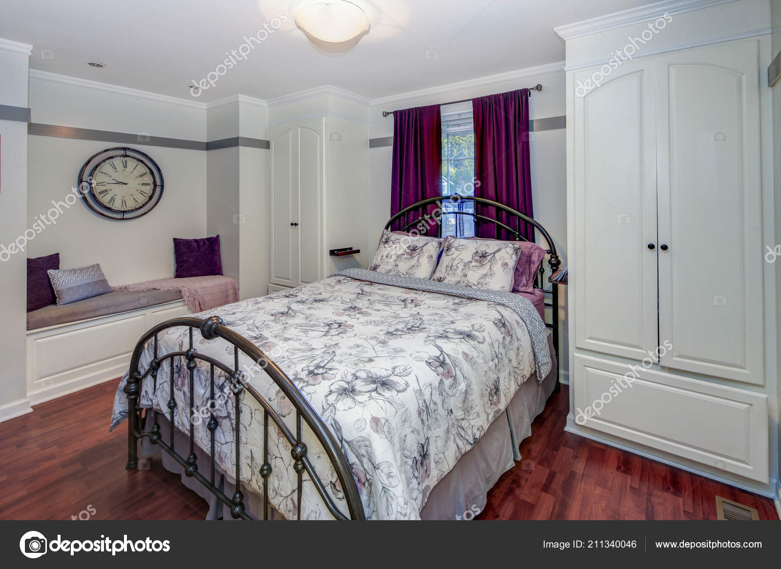 White Purple Bedroom Interior Iron Bed Bench Built Cabinets ...