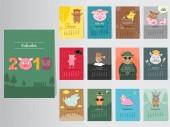 Fotografie Lustige Tier 2019 Kalenderdesign, stellen Sie das Jahr der Schwein monatliche Karten Vorlagen von 12 Monaten monatlich Kinder, Vektor-Illustrationen