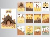 Fotografie Lustige Tier 2019 Kalenderdesign, stellen Sie das Jahr der Schwein monatliche Karten Vorlagen von 12 Monaten monatlich Kinder, Thai Höhlenrettung, Vektor-Illustrationen