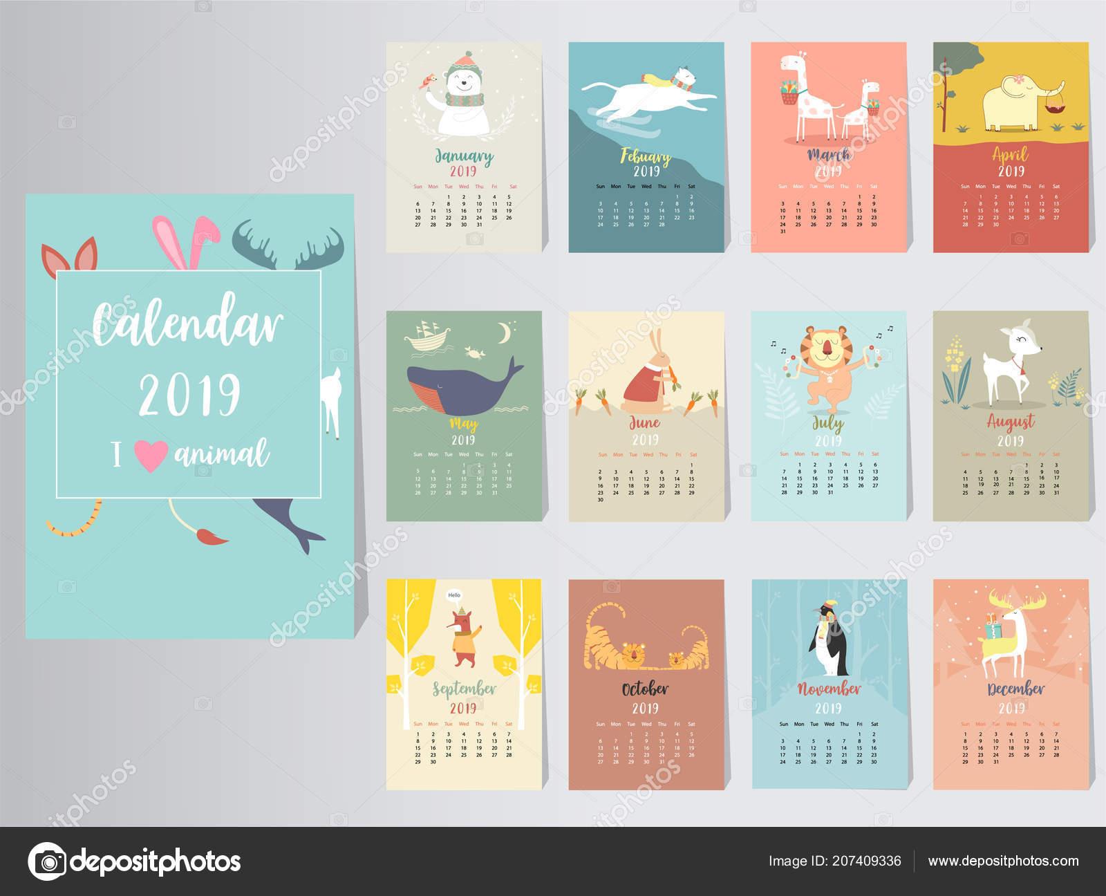 cute animal calendar 2019 design year pig monthly cards templates