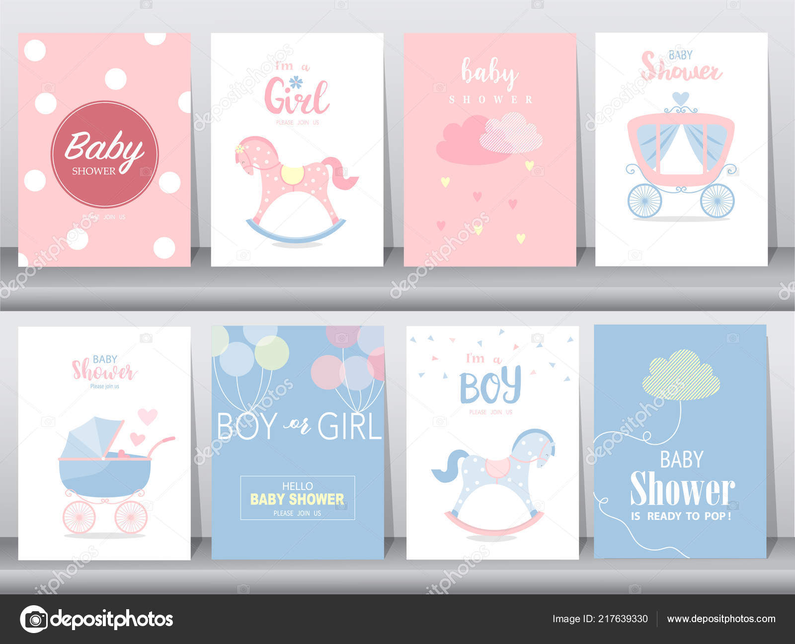 Set Baby Shower Invitation Cards Birthday Poster Template Greeting