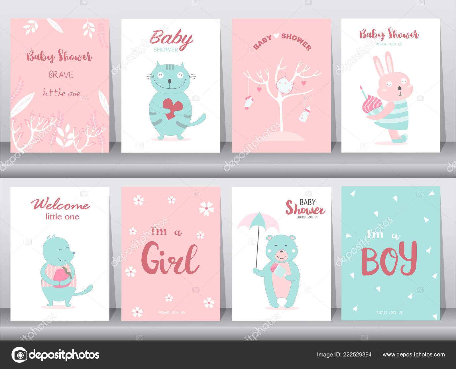 set baby shower invitations cards poster greeting template animal