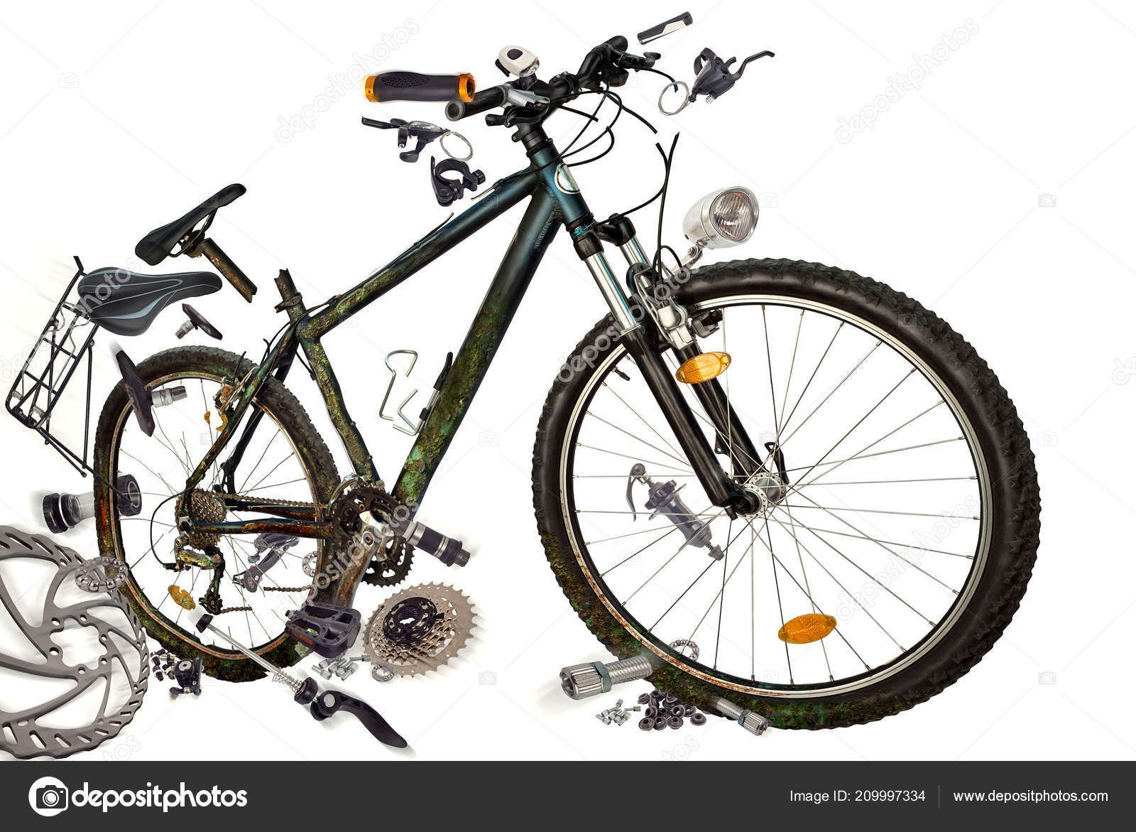 Spare Parts Bike Fly Bicycle Spare Parts Isolated White Background