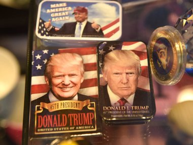 New York, USA - May 31, 2018: Souvenirs featuring Donald Trump in the gift shop in New York.