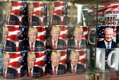 New York, USA - June 10, 2018: A cup with a picture Donald Trump in the gift shop in New York.