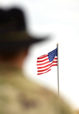 American Soldiers and US Flag. US Army