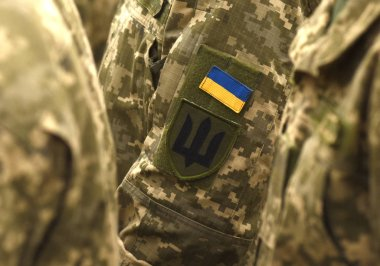 Ukraine patch flag on army uniform. Ukraine military uniform. Ukrainian troops