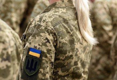 Woman soldier. Woman in army. Ukraine military uniform. Ukrainian troops