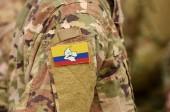 Revolutionäre Streitkräfte Kolumbiens Flagge auf dem Arm der Soldaten. Revolutionäre Streitkräfte Kolumbiens - Volksarmee (Collage)