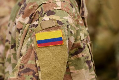 Colombia flag on soldiers arm. Republic of Colombia troops (collage)