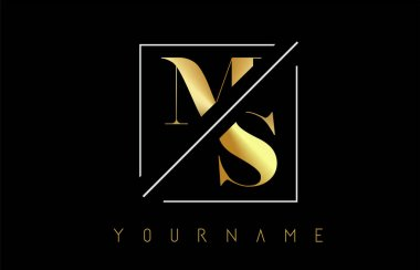MS Golden Letter Logo with Cutted and Intersected Design