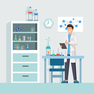 Researcher at work vector illustration. Male lab worker taking notes, describing test, chemical reaction cartoon character. Cheerful researcher doing experiments in laboratory, using lab equipment