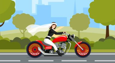 Bride riding motorbike flat character. Wedding day, marriage preparation, bridal procession, motorway photoshoot. Happy fiancee driving fast on cityscape background cartoon vector illustration