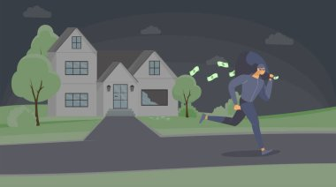 Robber stealing cash flat vector illustration. Dangerous criminal in mask escaping with money bag cartoon character. Thief running away after housebreak, burglar in disguise leaving crime scene