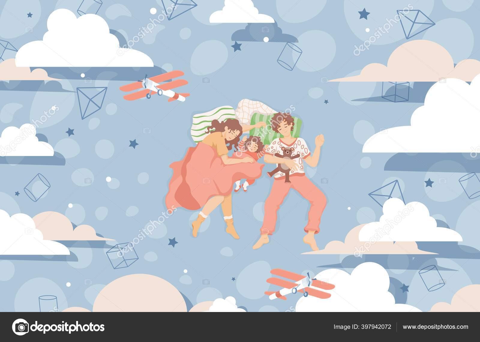 Keluarga Tidur Bersama Di Tempat Tidur Dan Bermimpi Vektor Datar Ilustrasi Keluarga Bahagia Menghabiskan Waktu Bersama Stok Vektor C Plahotya 397942072