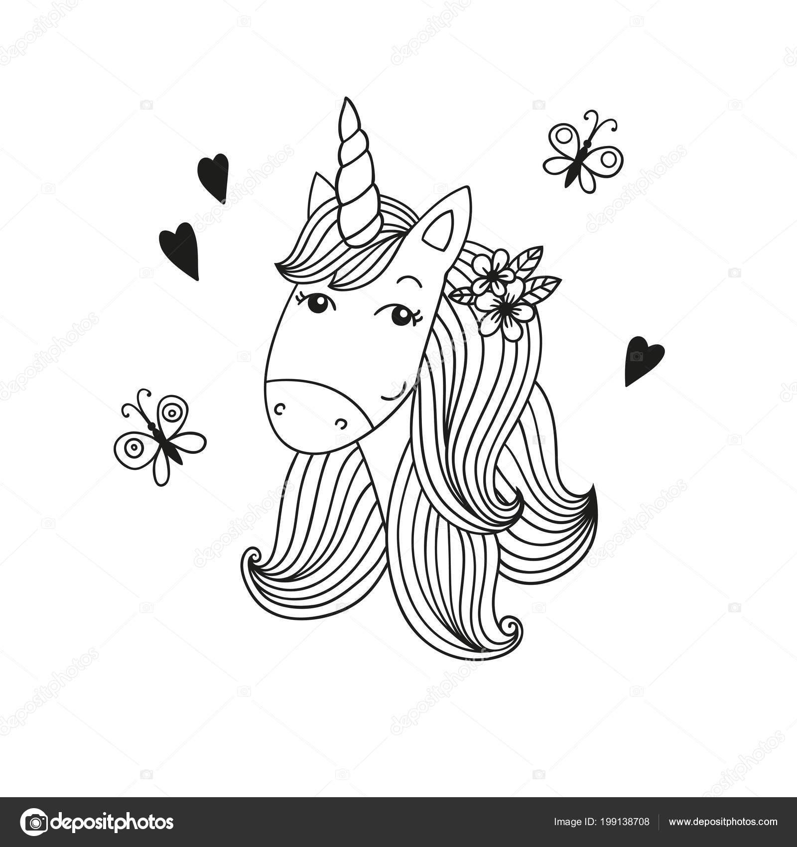 Tatlı Karikatür Tek Boynuzlu At Başı Siyah Ve Beyaz Vektör