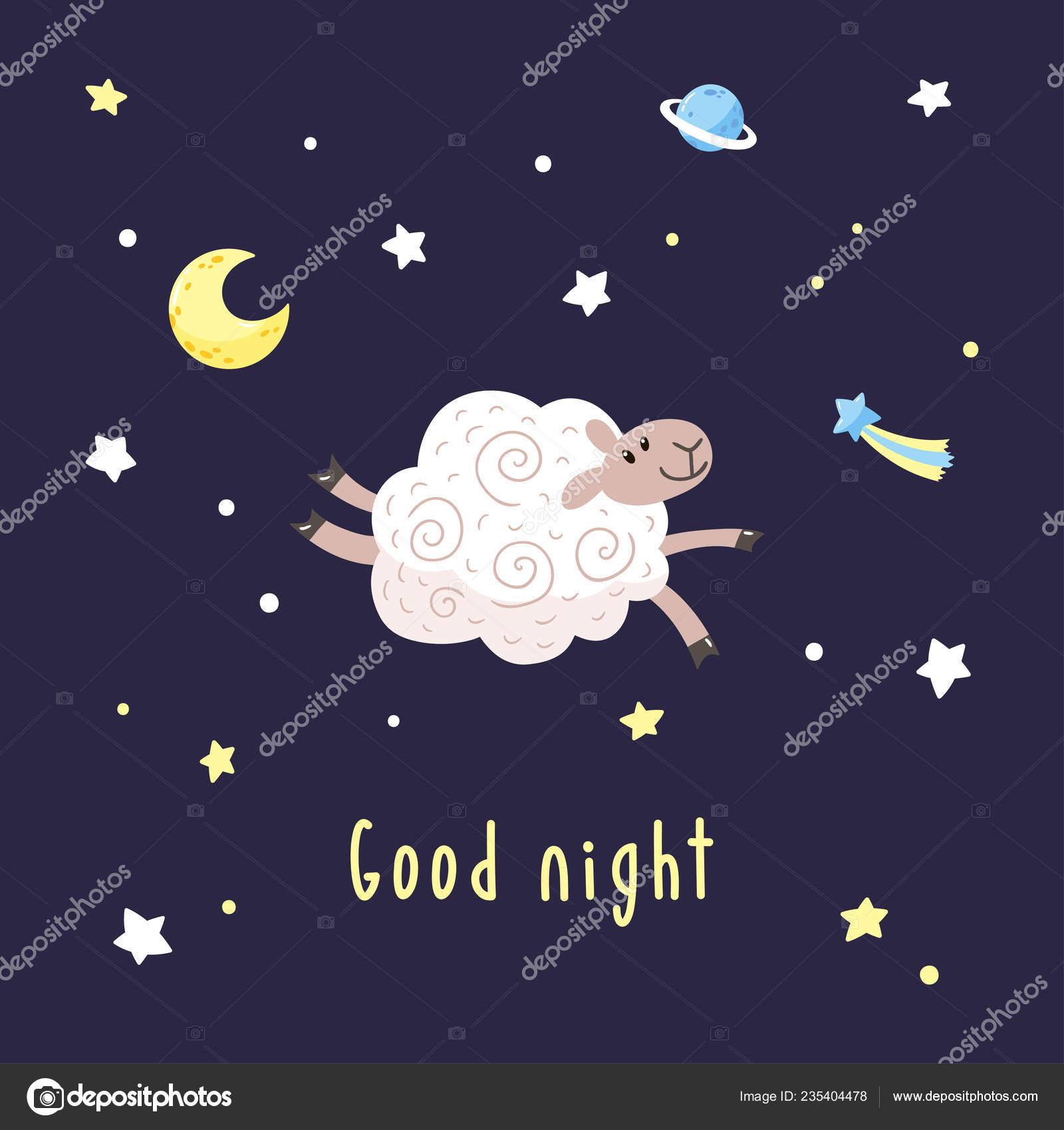 Illustrazione Buonanotte Stella Cometa Sfondo Scuro Notte