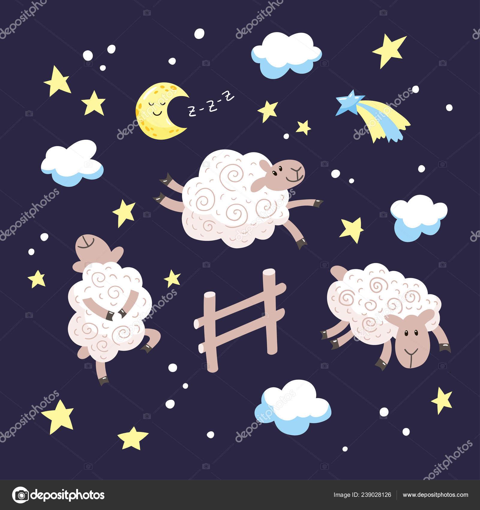 Buona Notte Fumetto Illustrazione Bambini Disegnato Mano