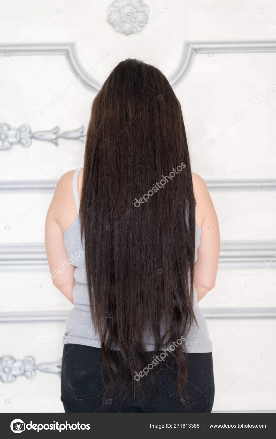 Straight Hair Back View Back View Woman Long Straight Hair Extension Hairstyle Concept Stock Photo C Focusandblur 271613386