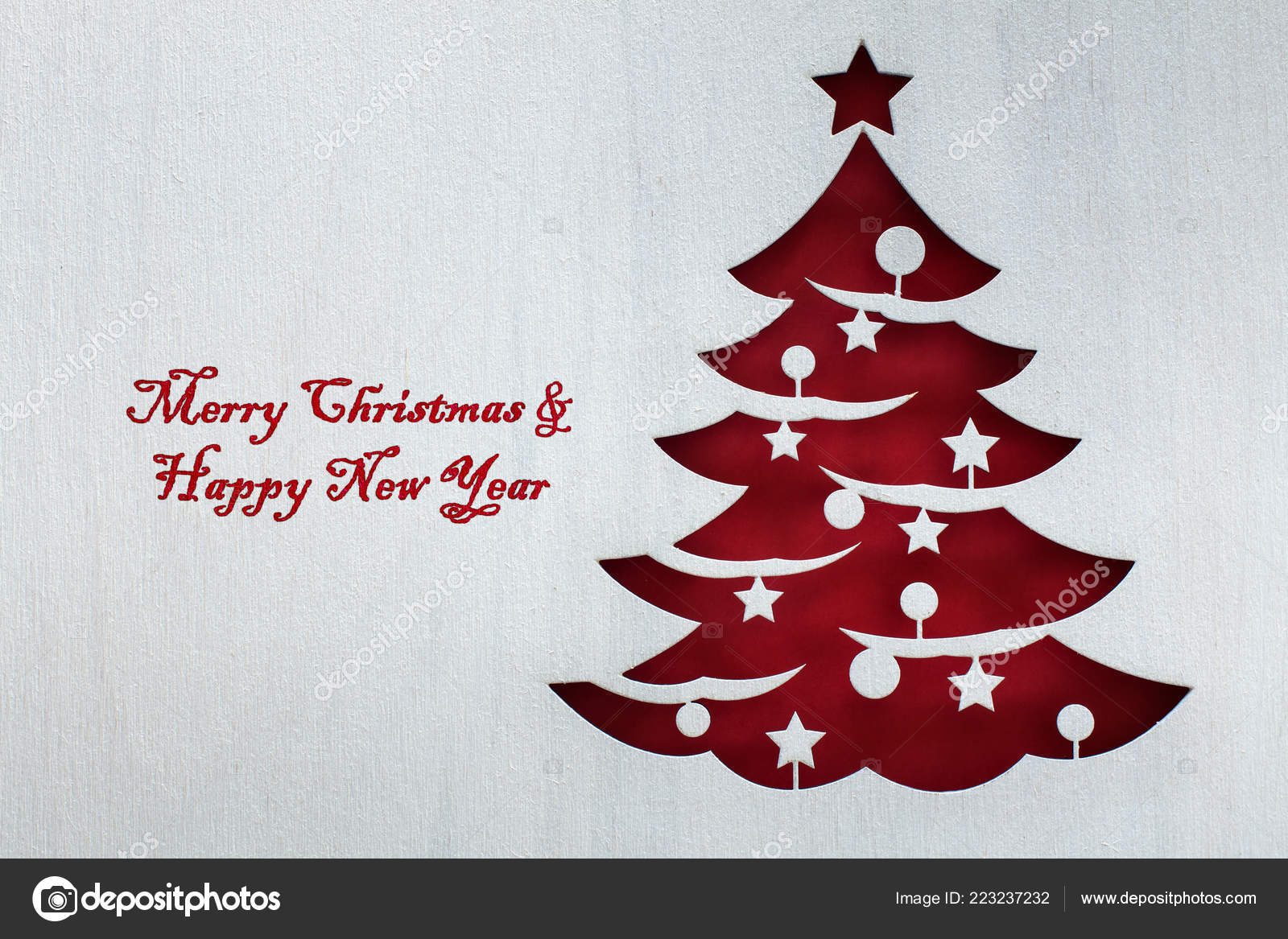 Christmas Tree Cutout.Red Christmas Tree Cutout White Wooden Board Rough Texture