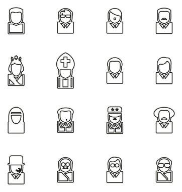 Avatar Icons Historical Figures Set 2 Thin Line Vector Illustrat