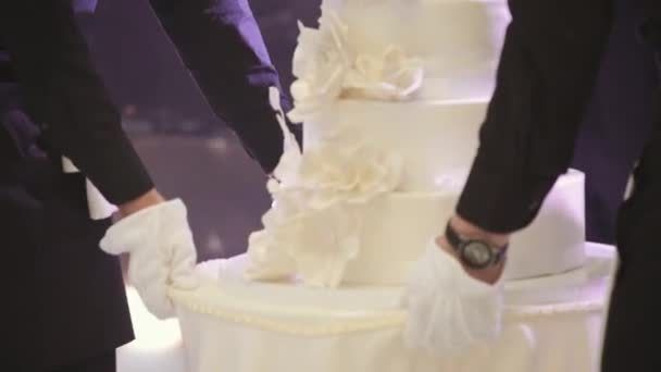 Číšníci mají svatební dort. Nevěsta a ženich řezání jejich svatební dort. Detailní zobrazení