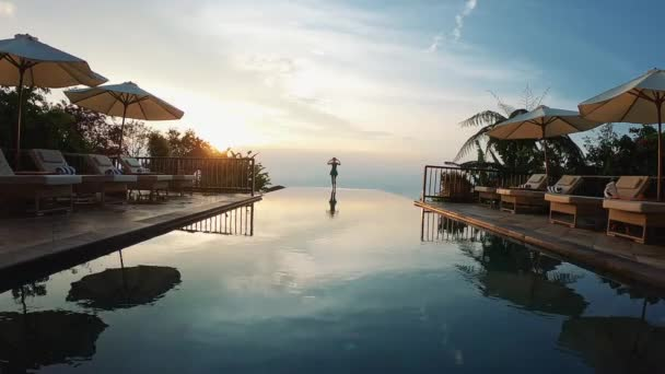 Freedom Concept. Luxury Asian Resort For Relaxing. Sunrise Meeting Near The Swimming Pool.