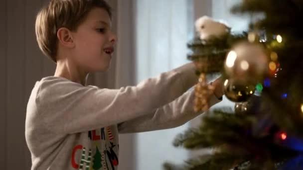Nový rok. Vtipálek zdobí vánoční stromek.