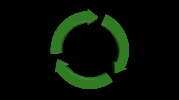 Animated green recycling sign on black background. 3d CGI seamless loop animation. Environment awareness and ecology, 3d rendering.