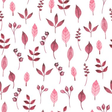 Seamless pattern with watercolor leaves, berries and twigs on white background.