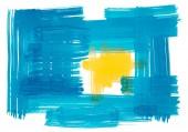 abstrakte Aquarellmalerei in blau und gelb.