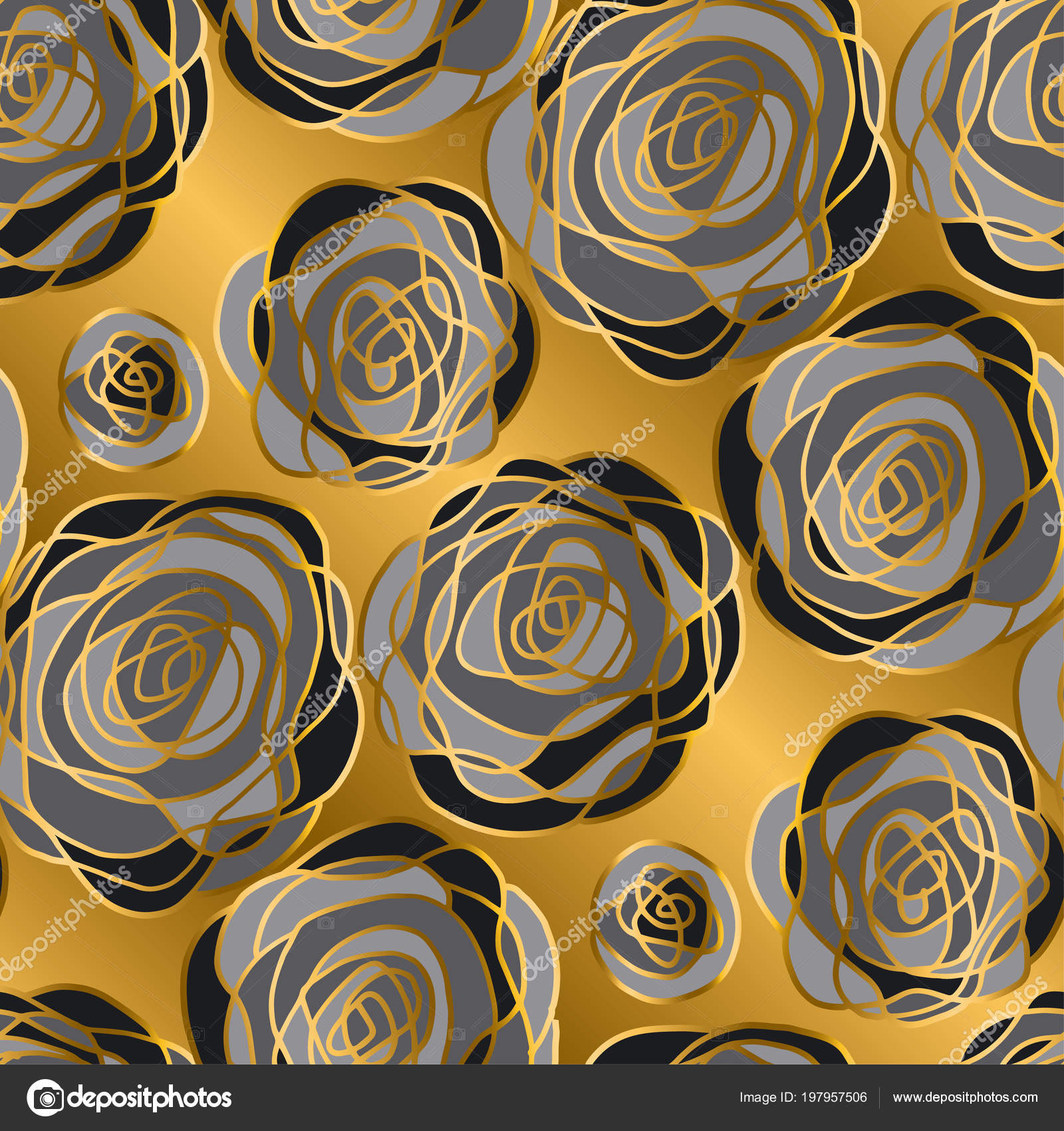 Luxury Gold Rose Decorative Flowers Seamless Pattern Gold Black Floral Stock Vector C Galyna 197957506