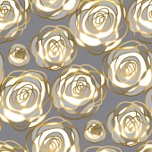 Fotografie abstract gold and white rose motif.
