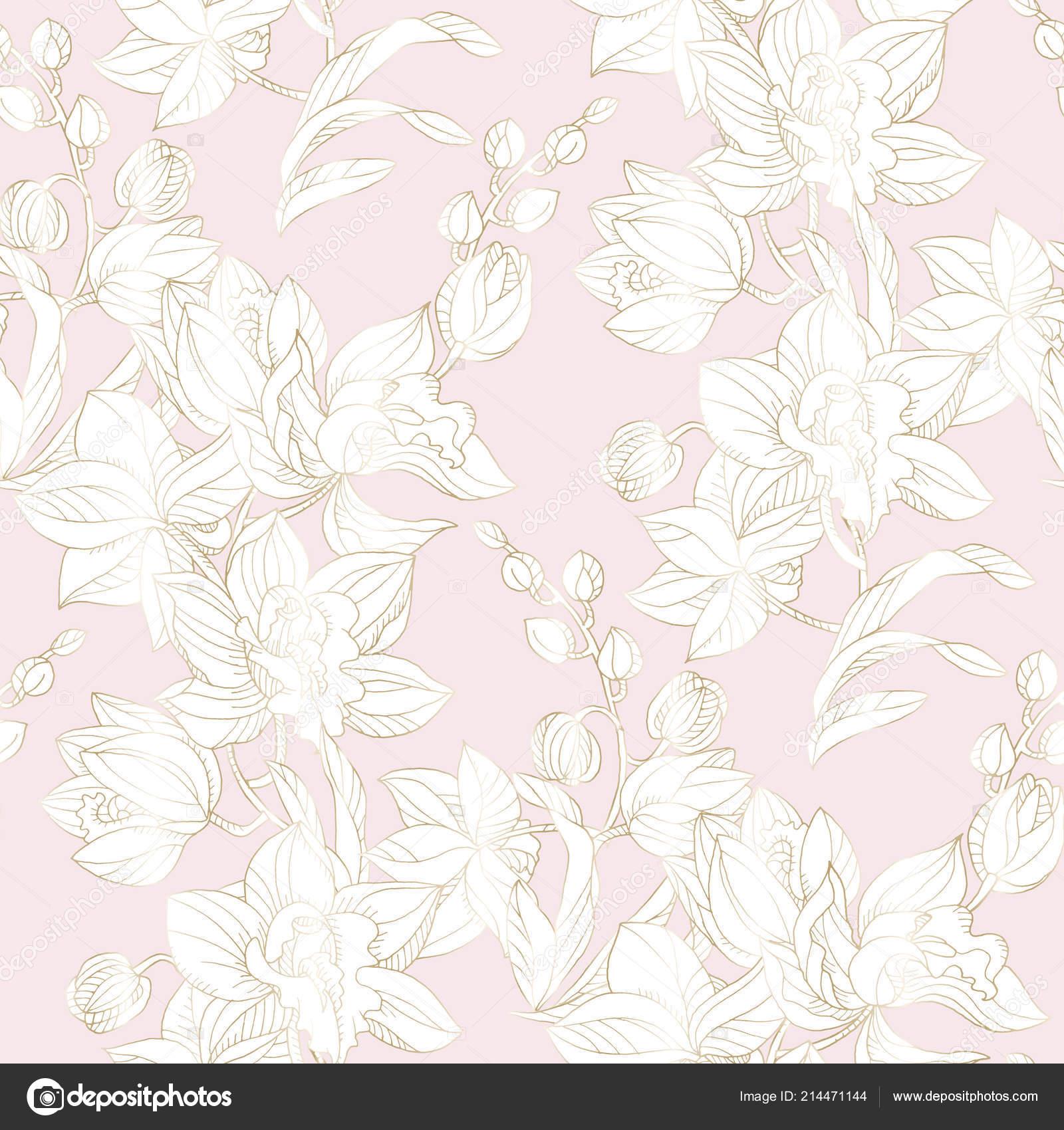 Orquídea de patrones sin fisuras en pastel y color oro — Vector de ...