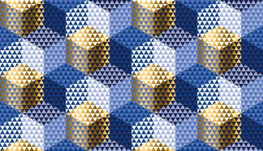 Hexagon and triangle orient style seamless pattern for winter holiday design projects. Gold and blue repeatable motif for wrapping paper, fabric, background