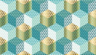 Pastel and gold geometric seamless pattern.