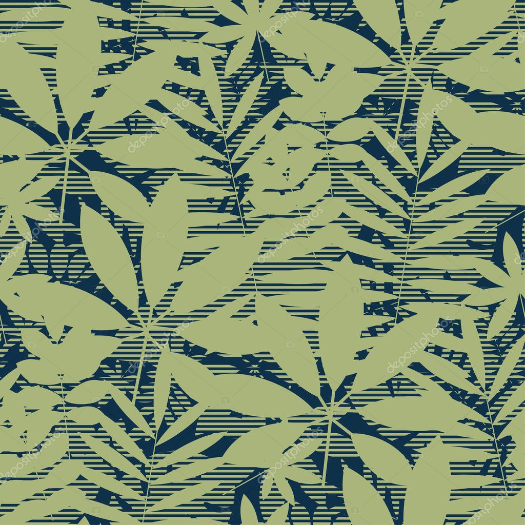 Abstract Tropical Leaves Silhouette Seamless Pattern Natural Green Jungle Repeatable Motif Tile Decorative Element For Fabric Wrapping Paper Surface Design Premium Vector In Adobe Illustrator Ai Ai Format Encapsulated Folkart® stencil, tropical leaf motif. wdrfree