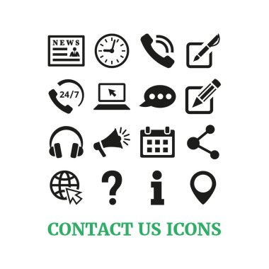 Contact us icons set on white background. Vector illustration icon