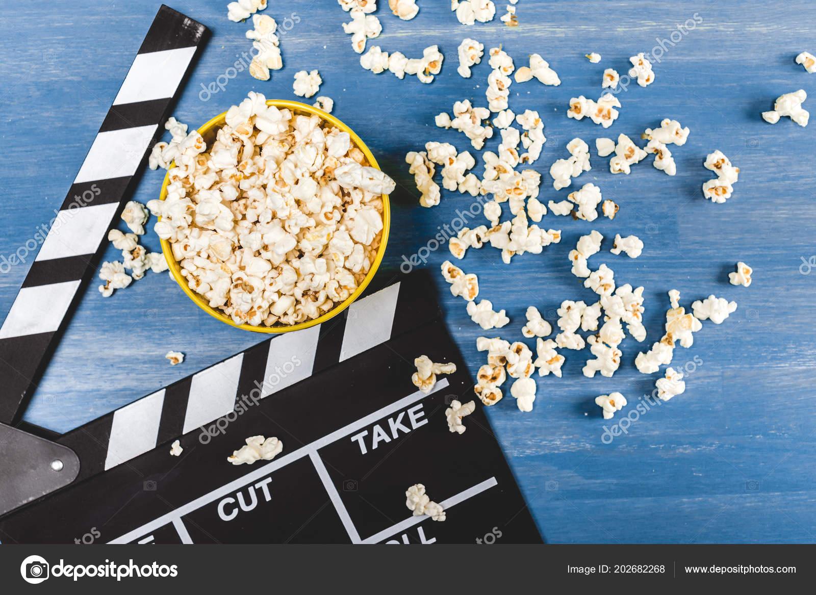 Elevated View Bucket Popcorn Movie Clapper Blue Stock Photo C K Klimenko 202682268