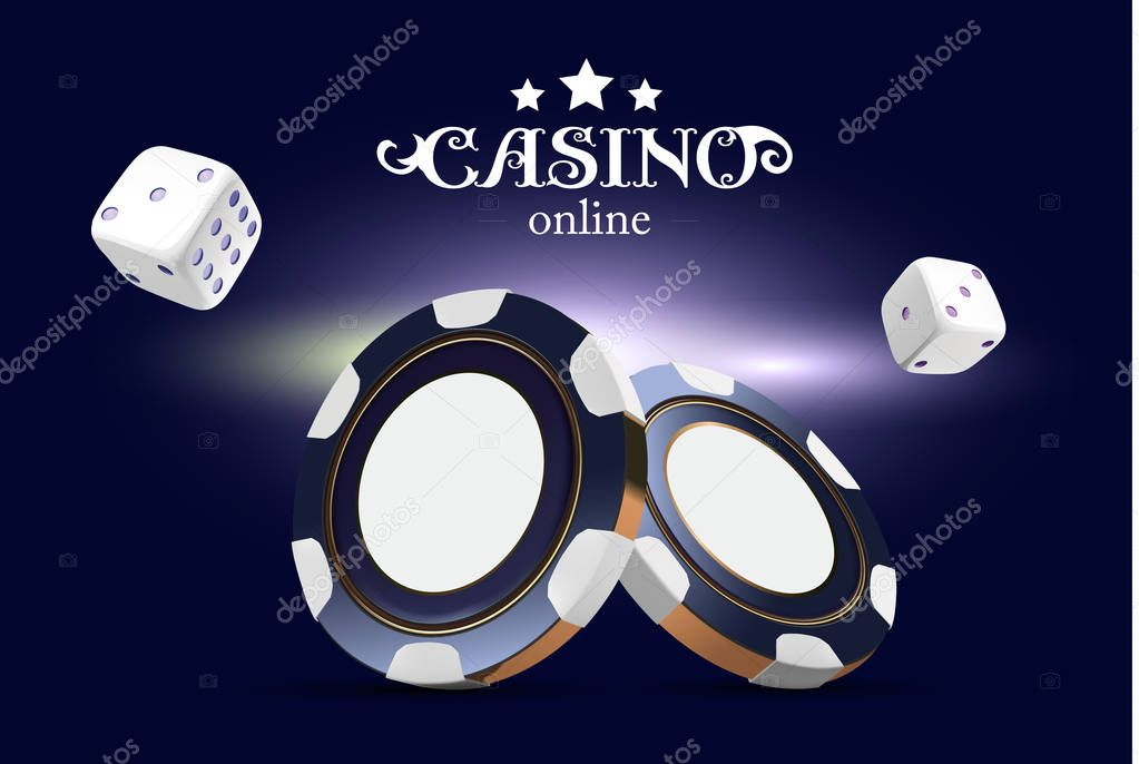 Casino Poker Chips And Dice Casino Game 3d Chips Online Casino Banner Blue Realistic Chip Gambling Concept Poker Mobile App Icon Dice Falling In The Air Premium Vector In Adobe Illustrator