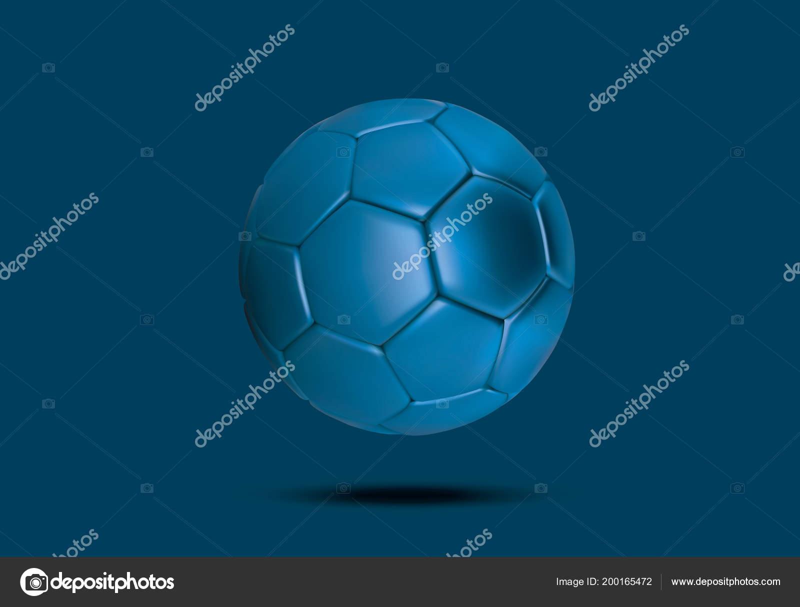 Sfera Di Calcio Blu Viola Su Sfondo Blu Sfera Di Calcio Blu 3d