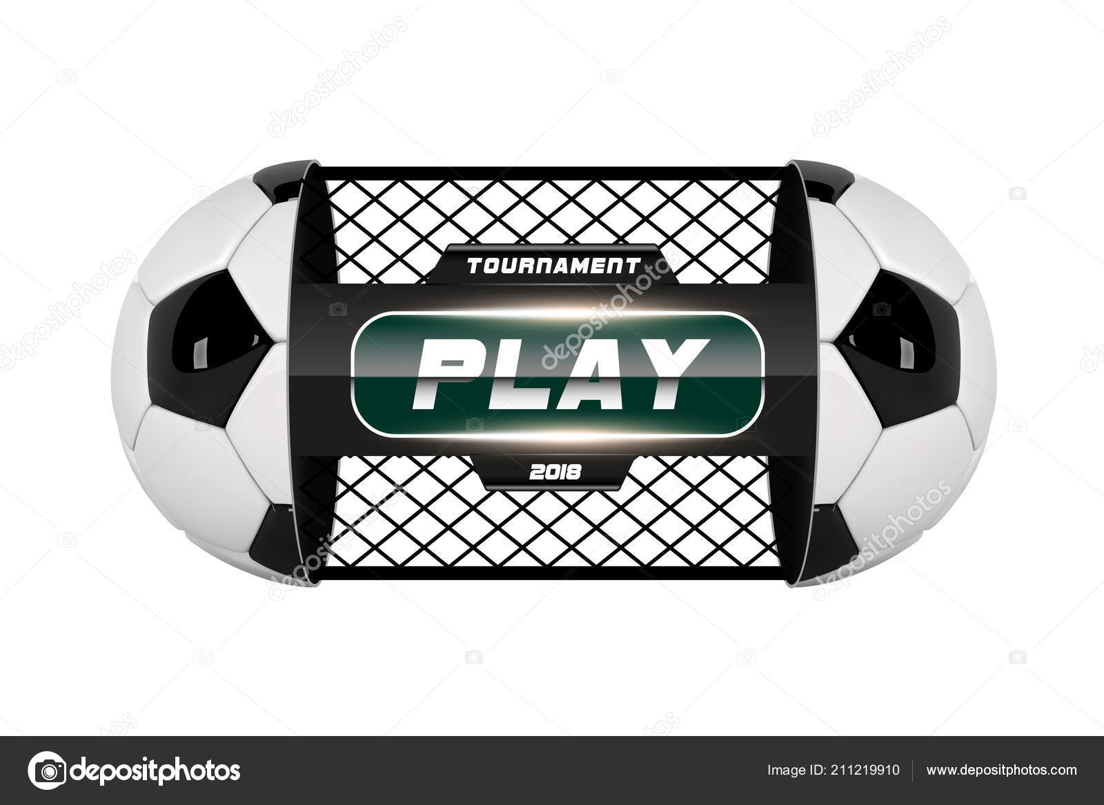 Vector of soccer or football ball isolated on white background. Football  White Banner With 3d Ball divided into two parts. Soccer game match. af240ecc0285b