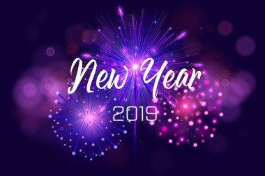 Happy New Year 2019 Illustration with Firework and White Number on Shiny Blue Background. Vector Holiday Design for Premium Greeting Card, Party Invitation or Promo Banner.