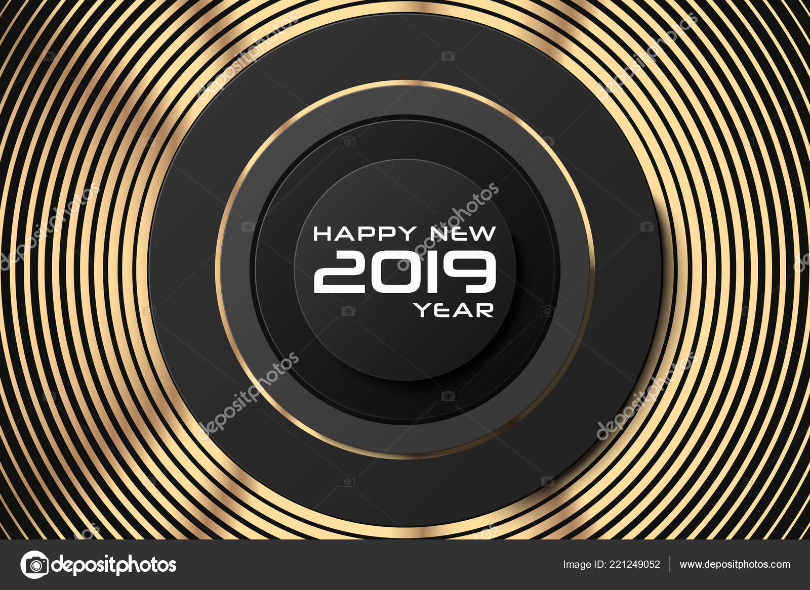 Happy New Year 2019 Abstract Holiday Cover Banner Template Black