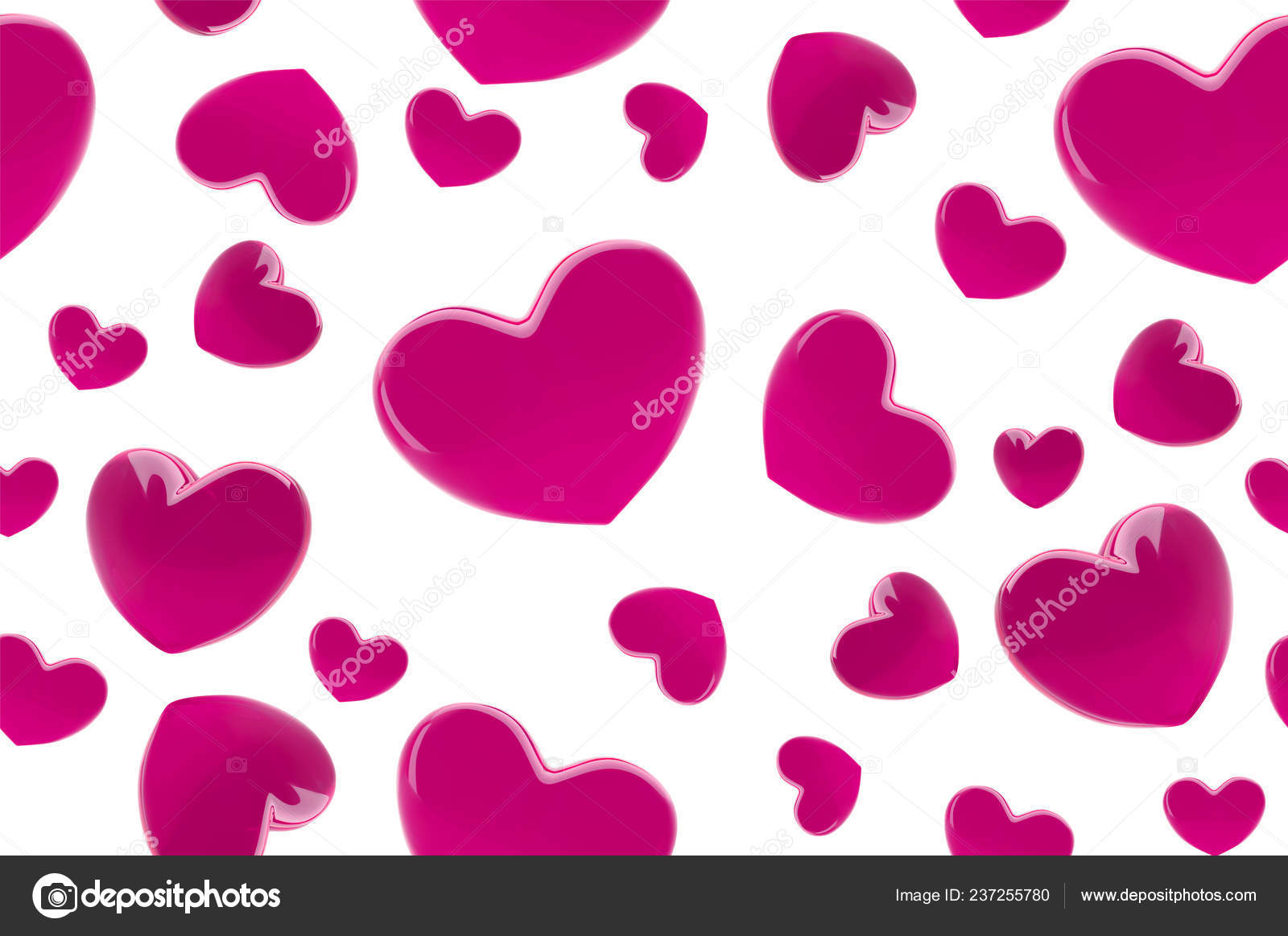 Valentines Day Hearts Seamless Pattern Background With Pink 3d
