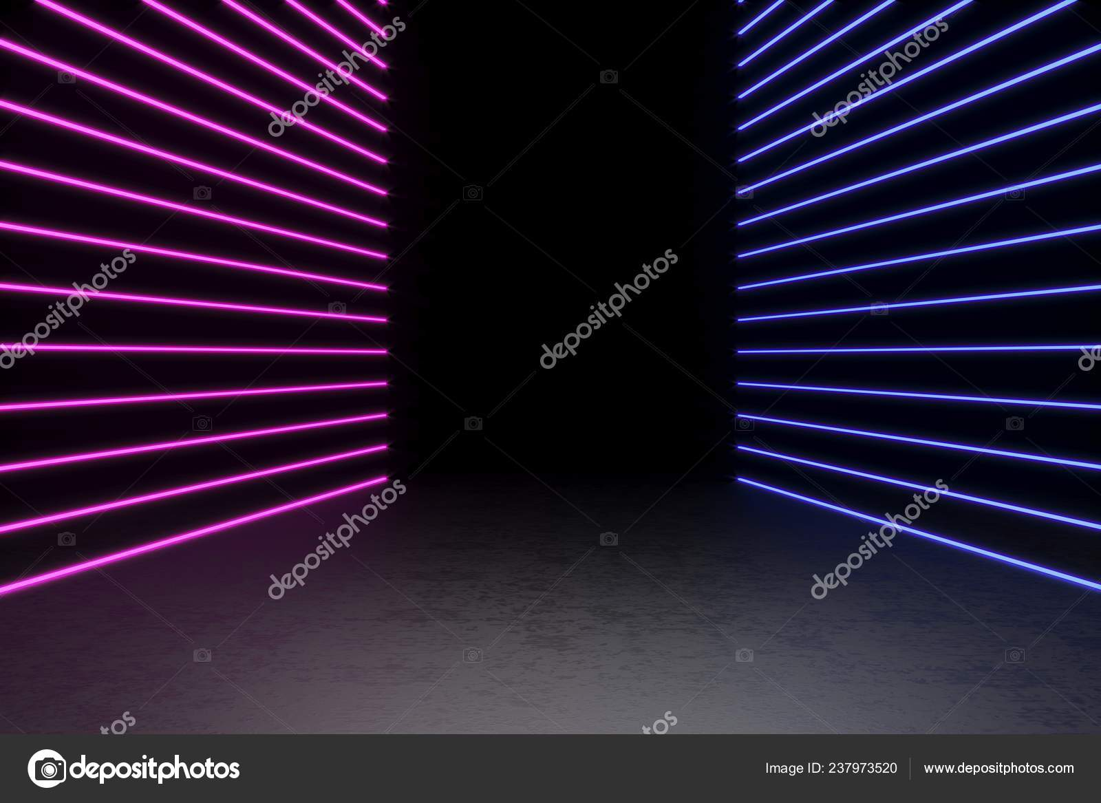 Background Of An Empty Black Corridor With Neon Light
