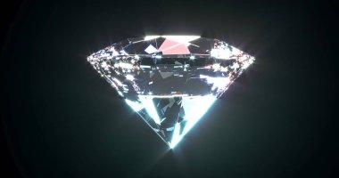 Beautiful shiny diamond, brilliant on black background. Clear or transparent diamonds, close-up shot. Jewelry brilliant gemstone. 3d rendering.