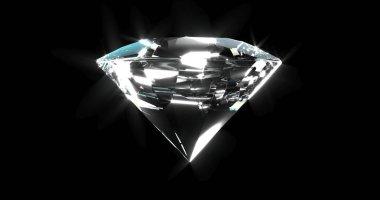 Beautiful shiny diamond, brilliant isolated on black background. Clear or transparent diamonds, close-up shot. Jewelry brilliant gemstone. 3D rendered illustration