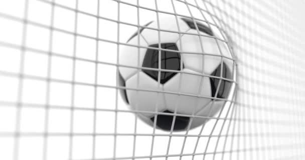 Der Ball fliegt in Zeitlupe ins Tornetz. schöne 3D-Animation des Tores auf weißem Hintergrund. 4k.